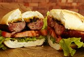 stock photo of baps  - Sausage sandwich - JPG