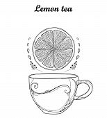 Vector Outline Cup Of Lemon Herbal Tea And Lemon Slice In Black Isolated On White Background. Compos poster