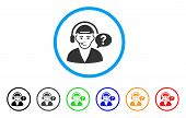 Call Center Chat Rounded Icon. Style Is A Flat Call Center Chat Grey Symbol Inside Light Blue Circle poster