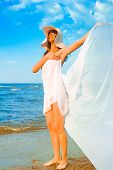 stock photo of nudism  - Beach Woman Sport - JPG