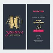 40 Years Anniversary Invitation Vector Illustration. Graphic Design Template With Golden Glitter Sta poster