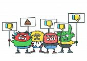 Group Of Four Funny Monsters With Dislike Protest Placards, Isolated Vector Cartoon Of Internet Hate poster