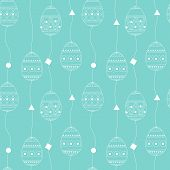 Vector Seamless Pattern With White Contour Eggs. Easter Holiday Background Eggs. Happy Easter Easter poster
