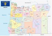 Oregon Administrative And Political Map With Flag poster