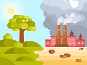 Flat Illustration Of Human Impact On Climate Change poster