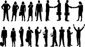 collection of business people in silhouette in different poses