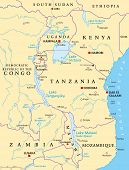African Great Lakes. Political Map With Capitals, Borders, Important Cities, Rivers And Lakes. Lake  poster