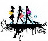 stock photo of street-walker  - Shopping girls - JPG
