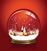 Vector snow globe with a town in red color, raster version of vector illustration