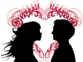 Women and men loving each other and heart between them. Ideal for dating services or valentine day. Vector images scale to any size.