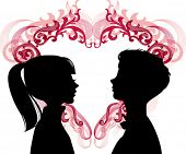 Women and men loving each other and heart between them. Ideal for dating services or valentine day, vector images scale to any size.