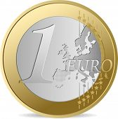 One Euro. All elements and textures are individual objects. Vector illustration scale to any size.