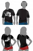 T-shirt design templates in dark colors. All elements and textures are individual objects. Vector il