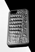 Exclusive Black Crocodile Alligator Leather Case For Smartphone.luxury Case. On Black And White Back poster
