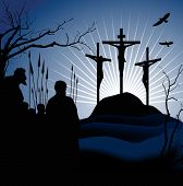 Crucifixion. Silhouettes of the three crosses and praying man. Raster version of vector illustration.