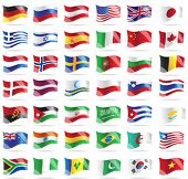 Set of flags. Glossy buttons. All elements and textures are individual objects. Vector illustration