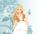Beautiful women with flowers. All elements and textures are individual objects. Vector illustration