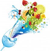 Water and fruits. All elements and textures are individual objects. Vector illustration scale to any size.