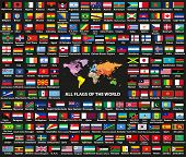 Vector Set Of All World Countries(sovereign States) Flags Arranged In Alphabetical Order. Map Of The poster