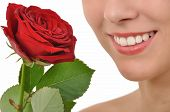Red rose and a radiant smile