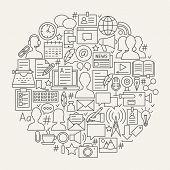 Blogging Line Icons Circle. Vector Illustration Of Blog Outline Objects. poster