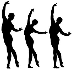 picture of ballet dancer  - Woman and two men ballet silhouettes isolated on white - JPG