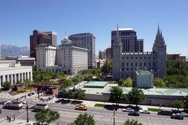 pic of tabernacle  - Downtown buildings and the Mormon Tabernacle in Salt Lake city Utah - JPG
