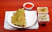 Karnataka Cuisine Rotti, Chutney And Chili Sauce