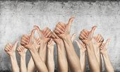 Row Of Man Hands Showing Thumb Up Gesture. Agreement And Approval Group Of Signs. Human Hands Gestur poster