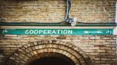 Street Sign The Direction Way To Cooperation poster
