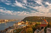 Amazing Sky With Picturesque Clouds Over Danube River And Buda Hills In The Central Area Of Budapest poster