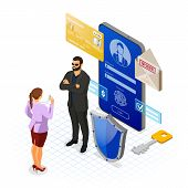 Personal Data Cyber Internet And Security Protection Banner Phone With Confidential Data Protection  poster