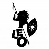 Tribal Zodiac. Leo. Lion-headed Man, Holding A Spear And Holding A Shield, Isolated On White Backgro poster