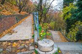 Park Walkway At Buda Hill Castle, Budapest, Hungary. Autumn. poster
