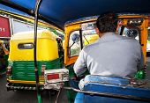 NEW DELHI, INDIA - MARCH 09 : Auto rickshaw taxis on a road on March 09, 2012 in Delhi, India. These