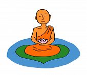 Buddhist Monk With A Lotus In His Hands Meditates On The Lake. Vector Illustration. poster