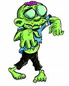 Illustration of Cute green cartoon zombie  Isolated on white