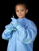Young girl with dental syringe