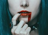 Beautiful Sexy Vampire Woman With Red Lips In Blood, Close-up. poster