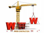 stock photo of construction crane  - Concept of website under construction with orange tower crane isolated on white background - JPG