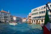 Morning View Of Venice From The Grand Canal. Venetian Old Colorful Buildings Against Blue Sky. Boat  poster