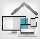 Home Concept. Information Medium on Grey Gradient Background. Vector.