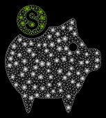 Flare Mesh Piggy Bank With Glow Effect. Abstract Illuminated Model Of Piggy Bank Icon. Shiny Wire Fr poster