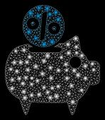 Glowing Mesh Piggy Bank With Lightspot Effect. Abstract Illuminated Model Of Piggy Bank Icon. Shiny  poster