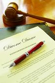 picture of breakup  - Divorce decree document and court gavel with pen - JPG