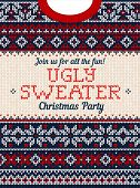 Ugly Sweater Christmas Party Invite. Knitted Background Pattern Scandinavian Ornaments. poster