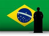Brazilian Speech Tribune Silhouette With Flag Background