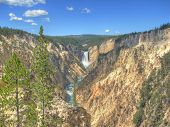 Lower Falls view from Artist Point in Grand Canyon of the Yellowstone in Wyoming, USA