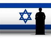 Israel Speech Tribune Silhouette With Flag Background