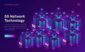 5g Network Technology, Isometric Concept Vector Illustration. Smart City, Tall Buildings With 5g Sym poster